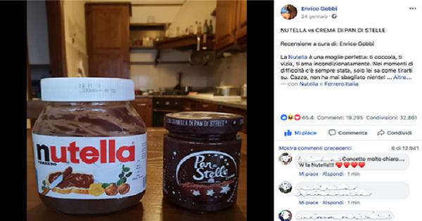Post virale Nutella VS Pan di Stelle: da un profilo Facebook privato con 800 amici, più di 100.000 interazioni