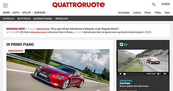 Nuovo QUATTRORUOTE: evolve il giornale, evolve il sito