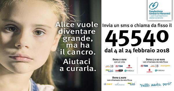 Parte la campagna  di Fondazione Umberto Veronesi a sostegno dell'oncologia pediatrica