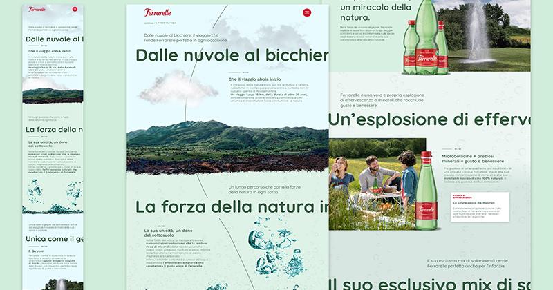Nuovo sito per Ferrarelle firmato Arc, digital agency del Gruppo Leo Burnett