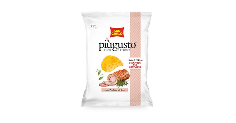 San Carlo presenta le nuove patatine Piùgusto al sapore di Porchetta alle erbe