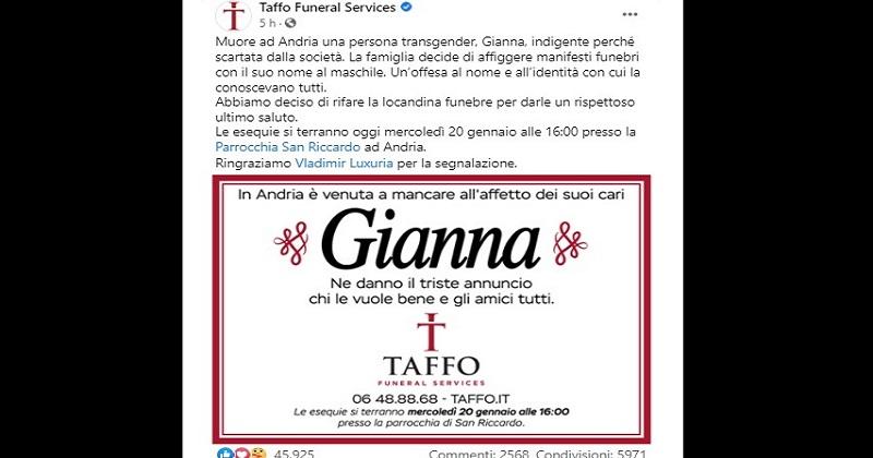 Taffo e Vladimir Luxuria per Gianna, persona trans morta ad Andria