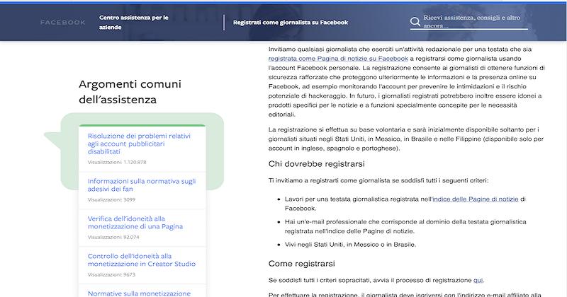 Arriva anche in Italia la Registrazione per i Giornalisti su Facebook