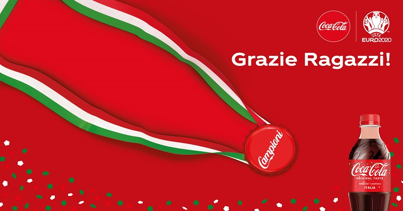Coca-Cola celebra la vittoria dell'Italia a EURO 2020 con un'edizione speciale